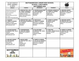 MJHS September Lunch Menu 2020