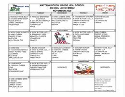 MJHS November Lunch Menu 2020